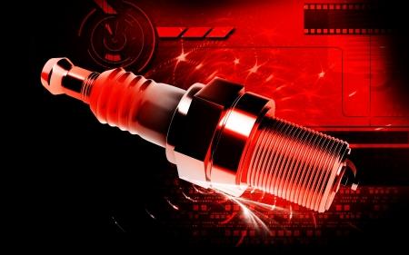 Digital illustration of Spark plug in colour background Stock Illustration - 19367266