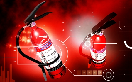 arson: Digital illustration of fire extinguisher in colour background  Stock Photo