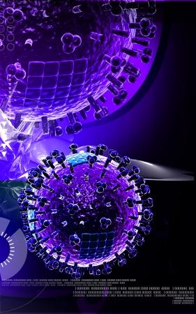 Digital illustration of  avian virus in colour  background