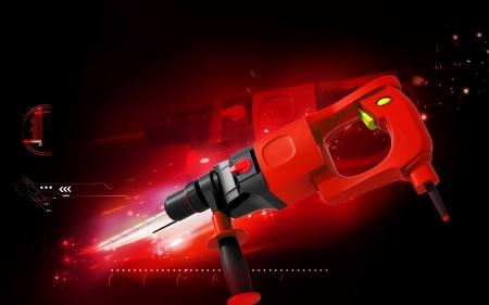 hammer drill: Digital illustration of hammer drill in colour background  Stock Photo
