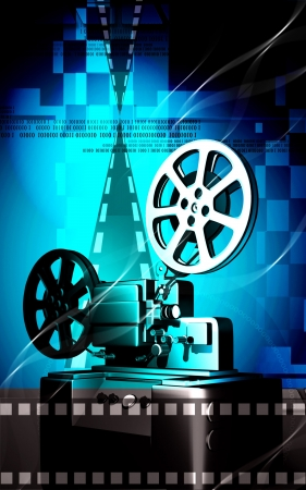 film production: Digital illustration of a vintage projector in colour background