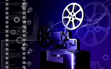 Digital illustration of a vintage projector in colour background  illustration