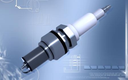 spark plug: Digital illustration of Spark plug in colour background
