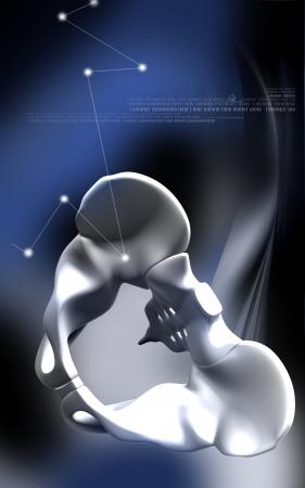 Digital illustration  of pelvic girdle in    colour background Stock Illustration - 19833121