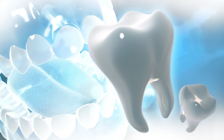 life science: Digital illustration of teeth in colour  background
