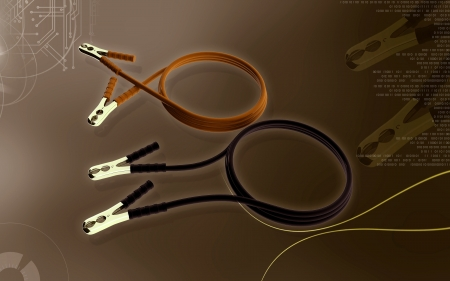 booster: Digital illustration of booster cable  in colour background