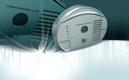 Digital illustration of Carbon monoxide alarm in colour background  illustration