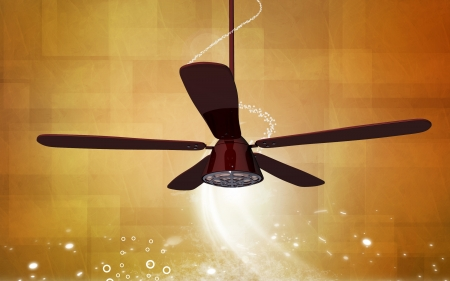 Digital illustration of ceiling fan in colour background Stock Illustration - 19935030