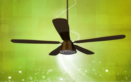 Digital illustration of ceiling fan in colour background  illustration