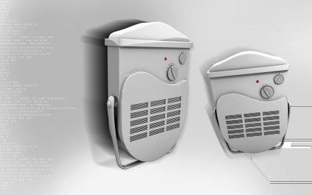 Digital illustration of bathroom fan heater in colour background illustration