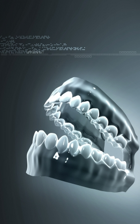 opened mouth: Digital illustration of  Teeth  in colour background