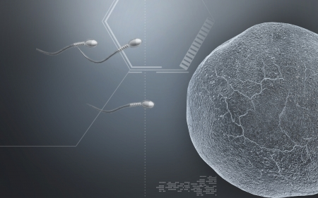Digital illustration of  sperm  in colour  background  Stock Photo