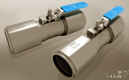 screwed: Digital illustration of stainless steel screwed end ball valves in colour background