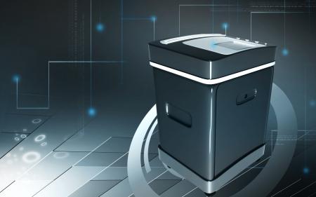 rectángulo: Ilustraci?n digital de un triturador de tarjeta en fondo de color