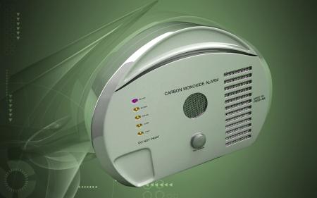 carbon monoxide: Digital illustration of Carbon monoxide alarm in colour background