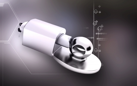 Digital illustration of Trailer coupling lock in colour  background