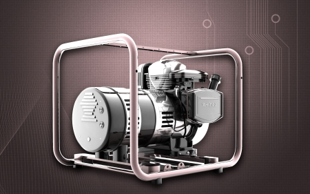 kilowatt: Digital illustration of a generator  in colour background Stock Photo