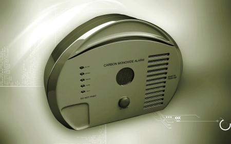 activate: Digital illustration of Carbon monoxide alarm in colour background