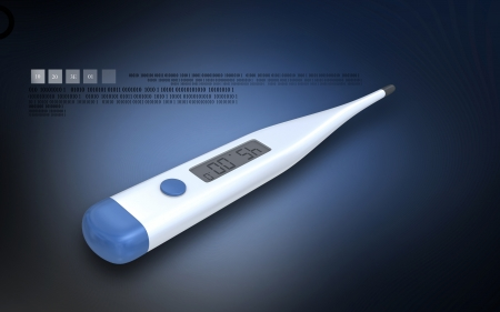 digital thermometer: Digital illustration of thermometer in colour background