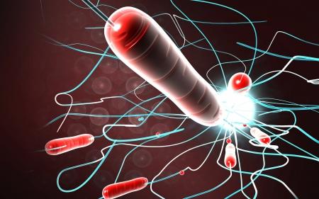 colera: Ilustraci?n digital de la bacteria del c?lera en el color de fondo