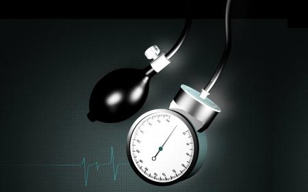 bp: Digital illustration of sphygmomanometer in colour background