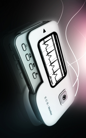Digital illustration of  ECG in  colour  background  illustration