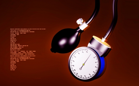 sphygmomanometer: Digital illustration of sphygmomanometer in colour