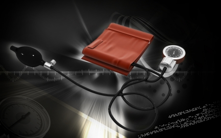 sphygmomanometer: Digital illustration of sphygmomanometer in colour  background   Stock Photo