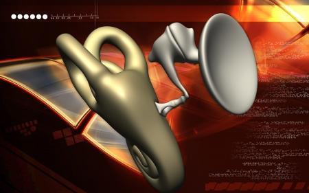 Digital illustration of  ear in colour  background   illustration