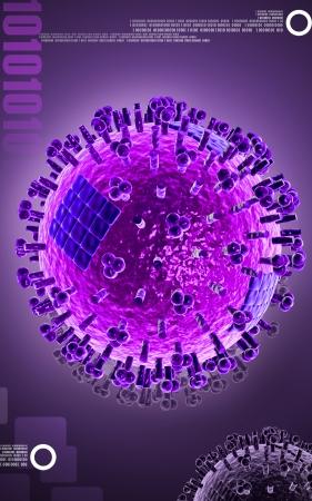 avian: Digital illustration of  avian virus in colour  Stock Photo