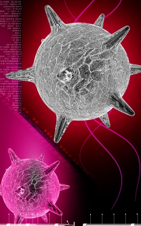 Digital illustration of  herpes virus in colour  background  illustration