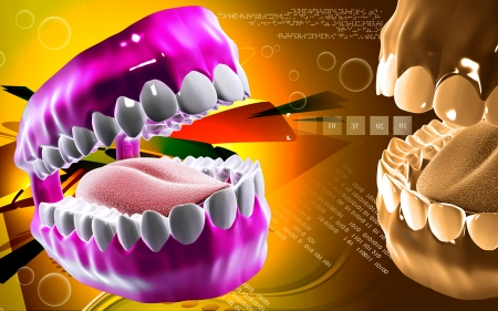 Digital illustration of  Mouth in colour background   illustration