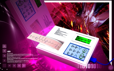 electrocardiograph: Digital illustration of  ECG in  colour  background