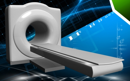 x ray machine: Digital illustration of Medical scanner in colour background  Stock Photo