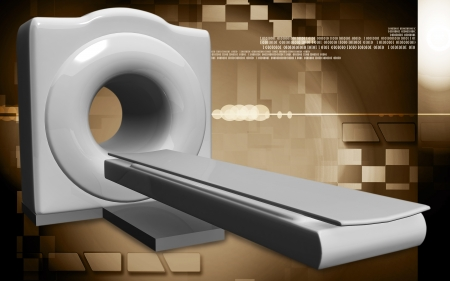 Digital illustration of Medical scanner in colour background  illustration
