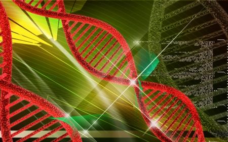 Digital illustration DNA structure in colour background  Stock Illustration - 25415415