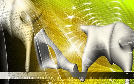 Illustration numérique d'oreille en arrière-plan de couleur