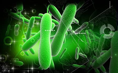 chol�ra: Illustration num�rique des bact�ries de chol�ra en fond de couleur