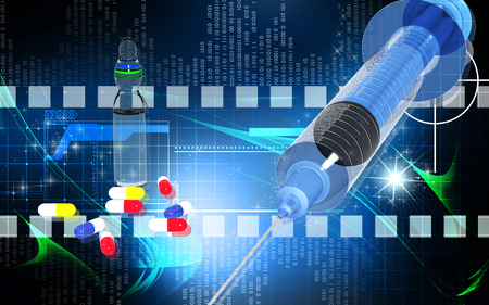 Digital illustration   of syringe in colour background  illustration