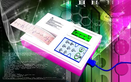 Digital illustration of  ECG in  colour  background  illustration