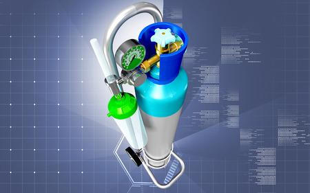 Digital illustration of oxygen cylinder in colour background  Stock Photo