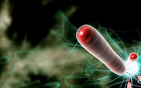 Digital  illustration   of cholera bacteria in   colour background    Stock Photo