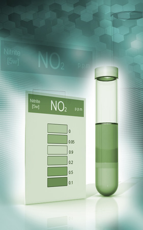 computer scientist: Digital illustration of nitrite test in colour background   Stock Photo