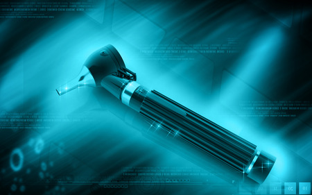 opthalmascope: Digital illustration of Otoscope in colour background