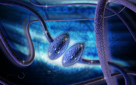axon: Digital illustration of synapse in colour background   Stock Photo