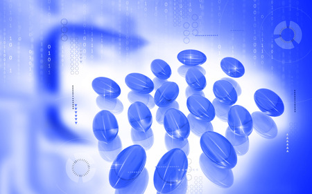 Digital illustration of Liver cod capsule in colour background  Stock Photo