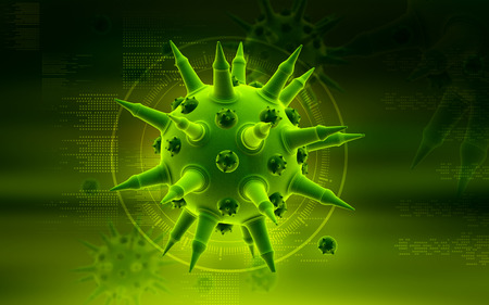 Digital illustration of  Flu virus in colour  background   illustration