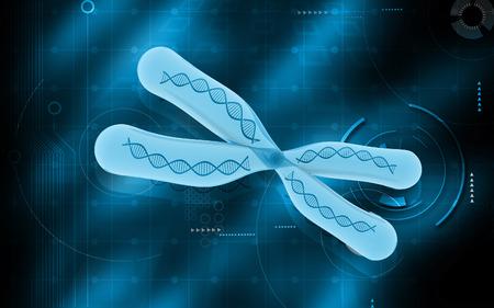 Digital illustration  of chromosome in   colour background illustration