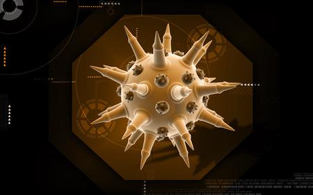 h5n1: Digital illustration of  Flu virus in colour  background
