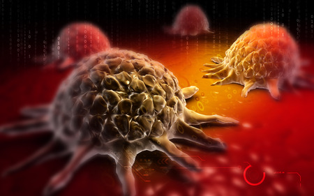 immune system: Digital illustration of Cancer cell in colour  background